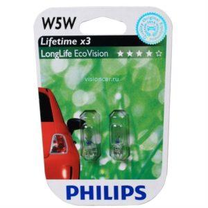 PHILIPS 12V W5W LONGLIFE ECO VISION